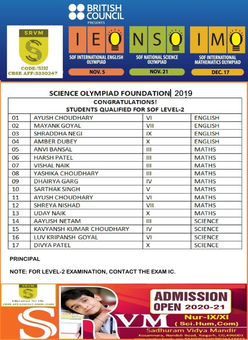 SCIENCE OLYMPIAD 2019 RESULTS